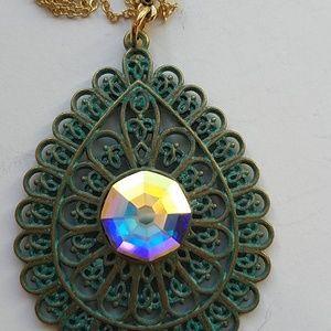 GASOLINE GLAMOUR Jewelry - GYPSY MEDALLION patina drop opal necklace new